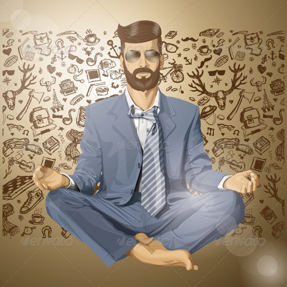 GraphicRiver Vector Hipster Businessman in Lotus Pose Meditating 6901578