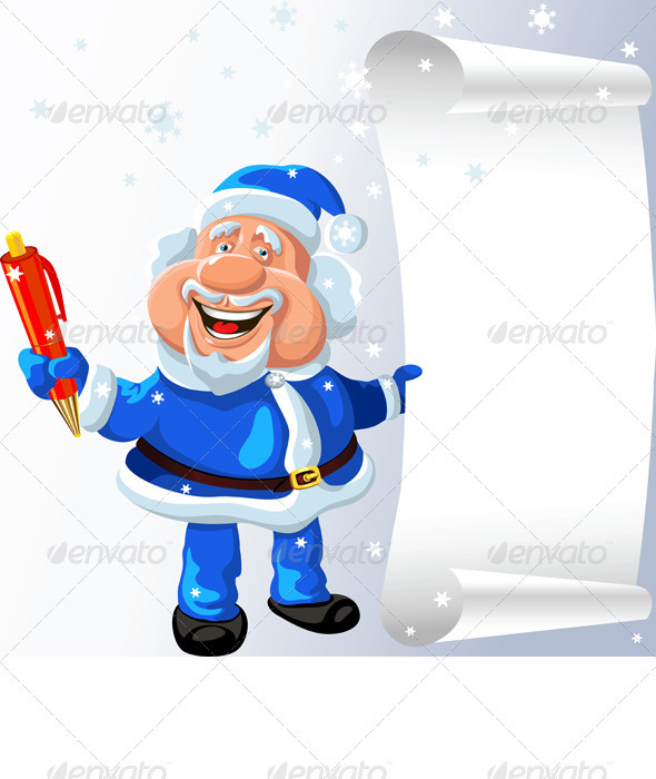 Santa Claus with a Pen and a Scroll