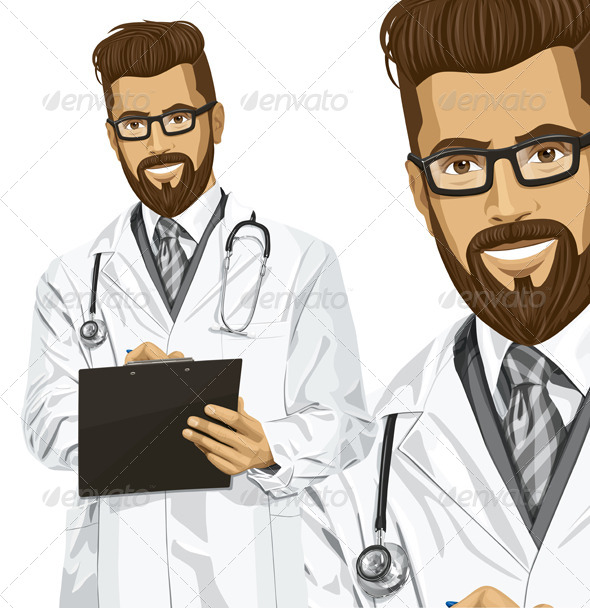 GraphicRiver Vector Hipster Doctor Man with Clipboard 6901586