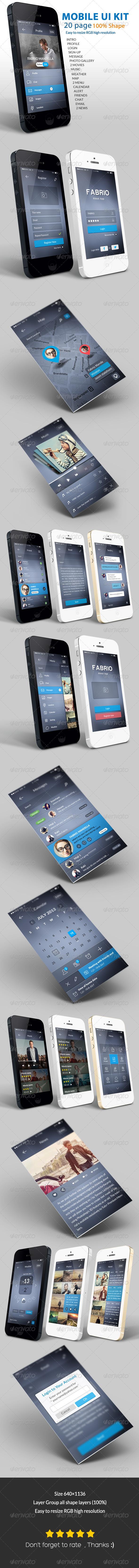 GraphicRiver Flat UI Kit mobile 6901867