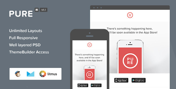 Pure - Responsive Email + Themebuilder Access - Email Templates Marketing