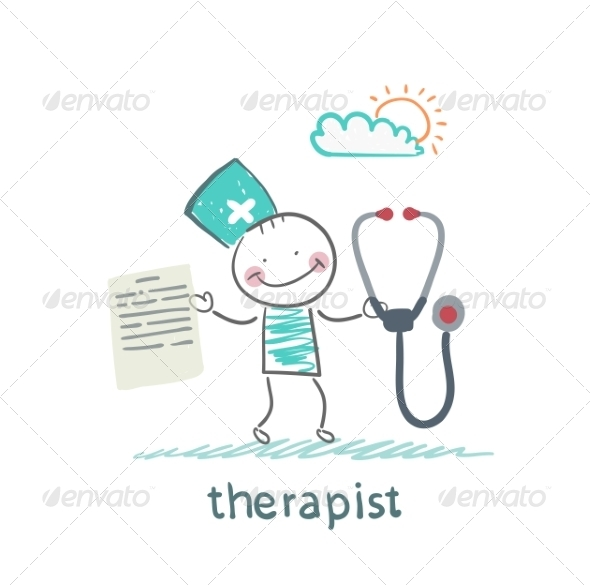 GraphicRiver Therapist with a Folder and Stethoscope 6902143