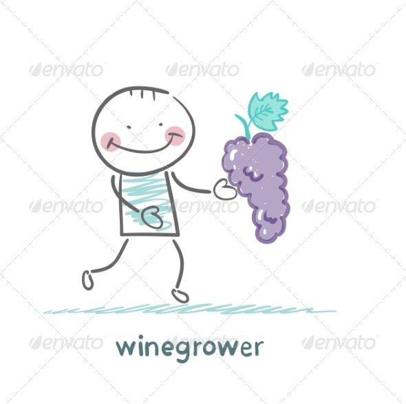 GraphicRiver Winegrower Holds a Bunch of Grapes 6902179