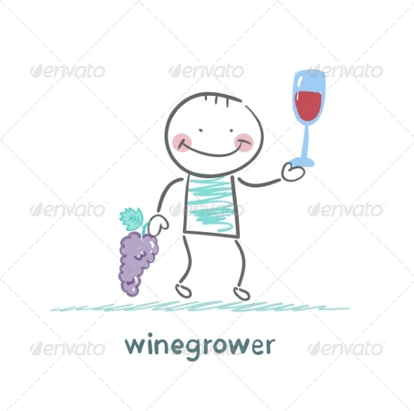 GraphicRiver Winegrower Holds Grapes and Wine Glass 6902237