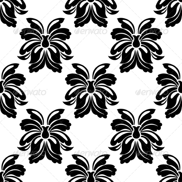 GraphicRiver Seamless Floral Pattern in Black and White 6902325