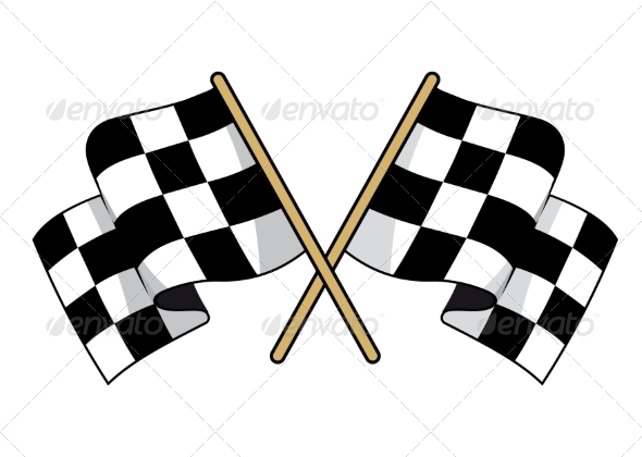 GraphicRiver Crossed Black and White Checkered Flags 6902514