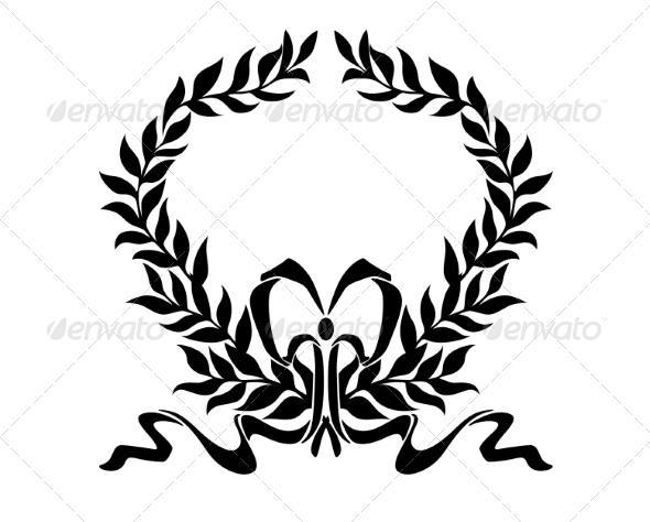 GraphicRiver Foliate Wreath with Decorative Bow 6902955