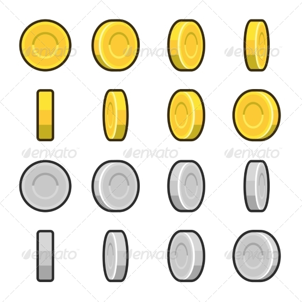 GraphicRiver Gold and Silver Coins with Different Rotation Angles 6903197