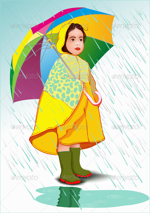GraphicRiver Little Girl Under Umbrella 6903211