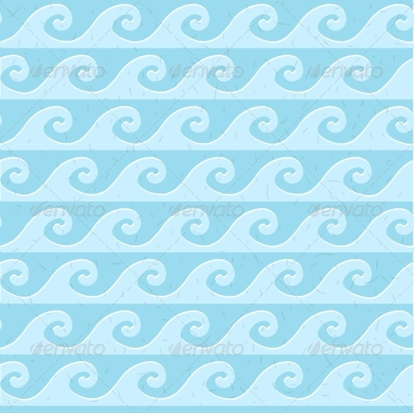 GraphicRiver Seamless Blue Grunge Pattern of Waves 6903521