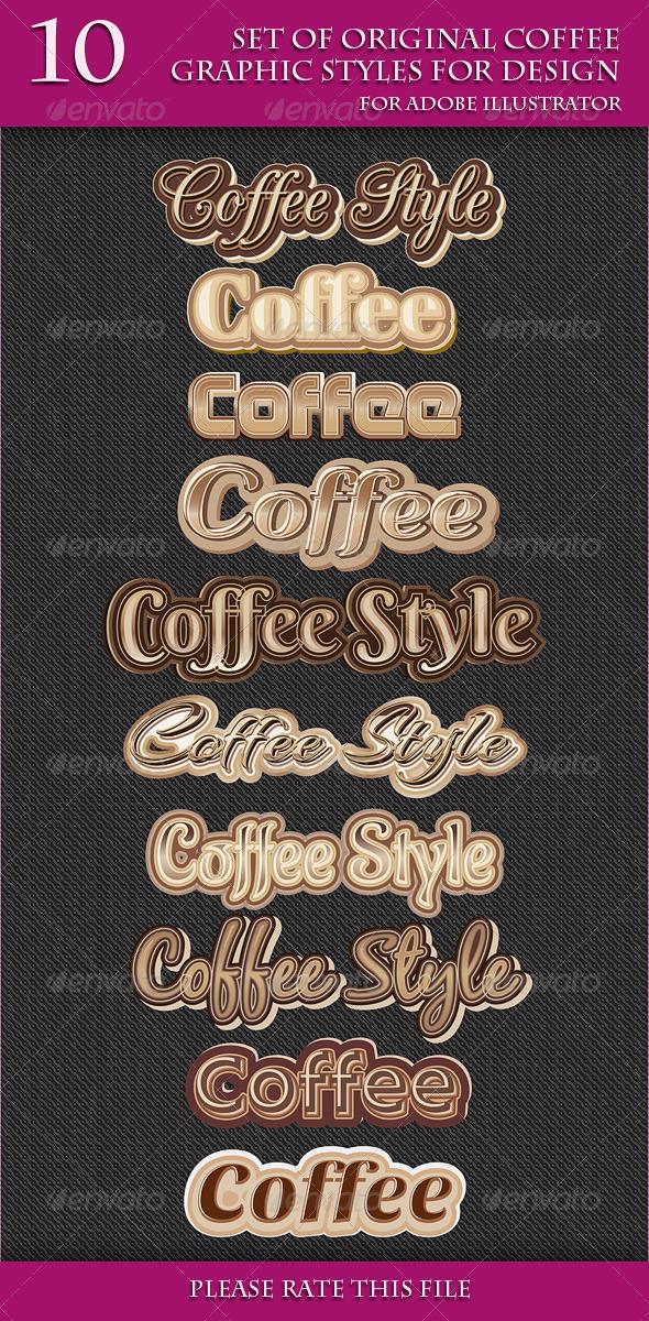 GraphicRiver Set of Original Coffee Graphic Styles for Design 6903689