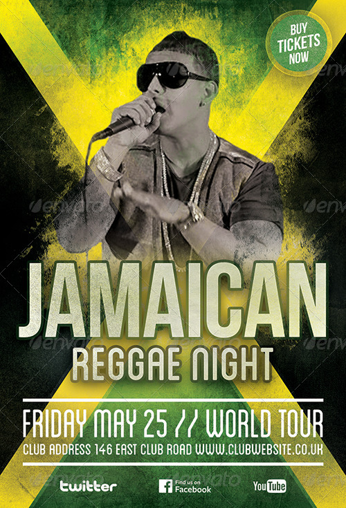 reggae party flyer template by cause