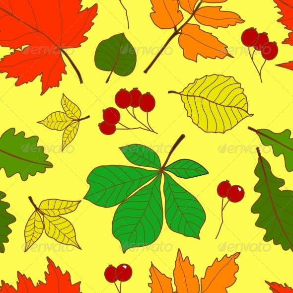 GraphicRiver Seamless Pattern with Colorful Fall Leaves 6904090
