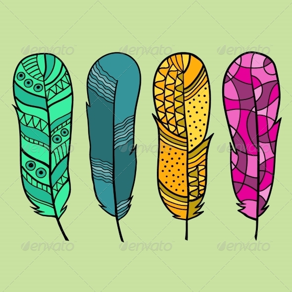 GraphicRiver Set of Isolated Hand Drawn Feather 6904178
