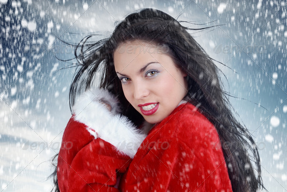 Sexy Santa and snowstorm - Stock Photo - Images