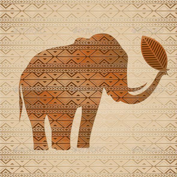 GraphicRiver Elephant Tribal Art Design 6904349