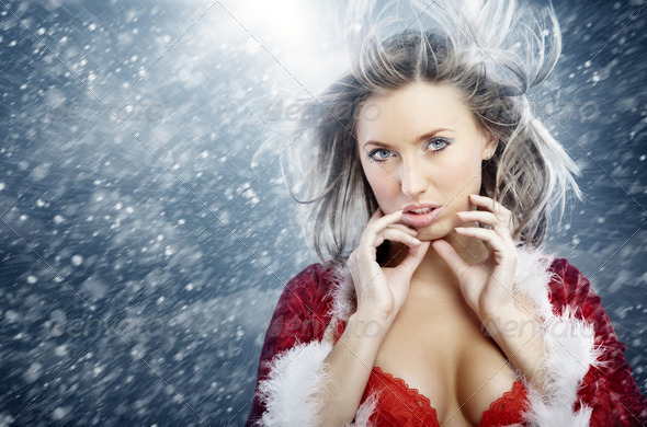Santa and snowstorm - Stock Photo - Images