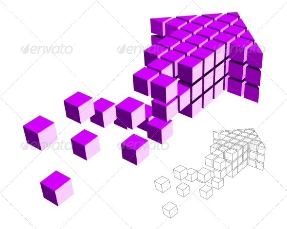 GraphicRiver Arrow Icon Made of Cubes 6904405