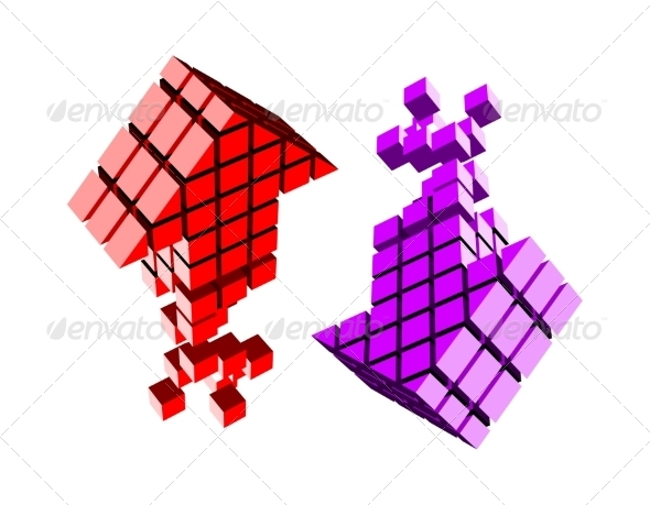 GraphicRiver Arrow Icon Made of Cubes 6904407