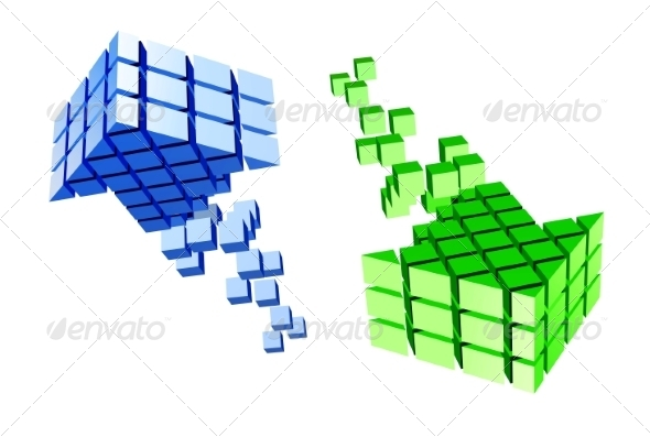 GraphicRiver Arrow Icon Made of Cubes 6904408