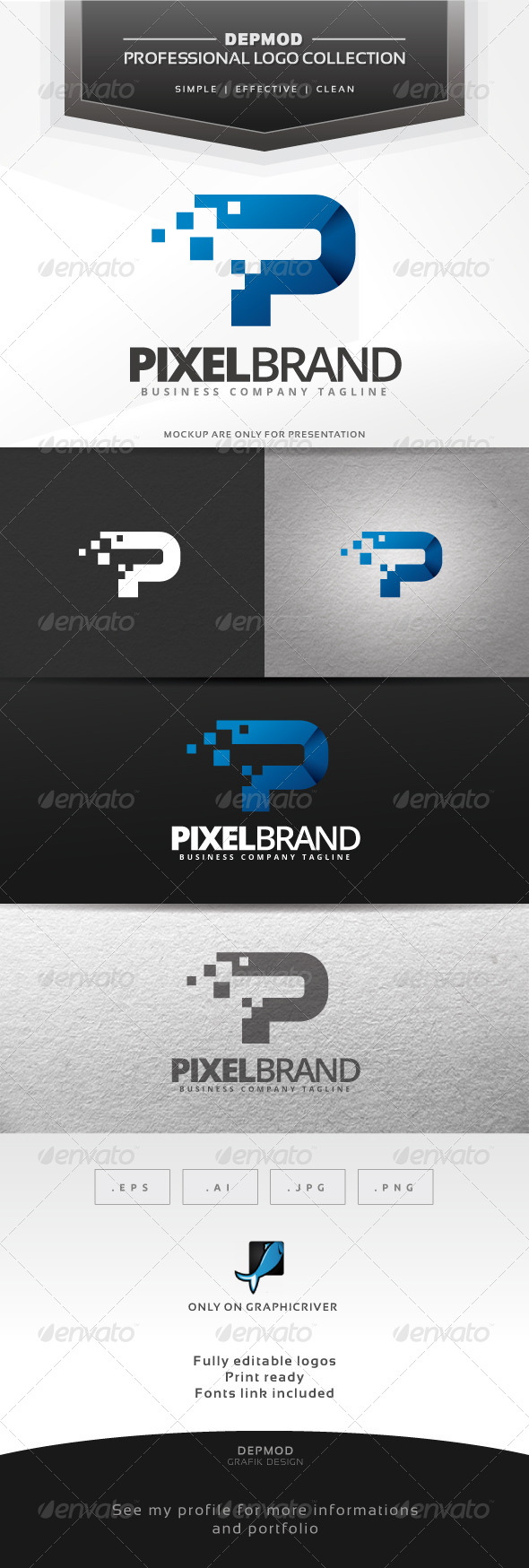 GraphicRiver Pixel Brand Logo 6904888