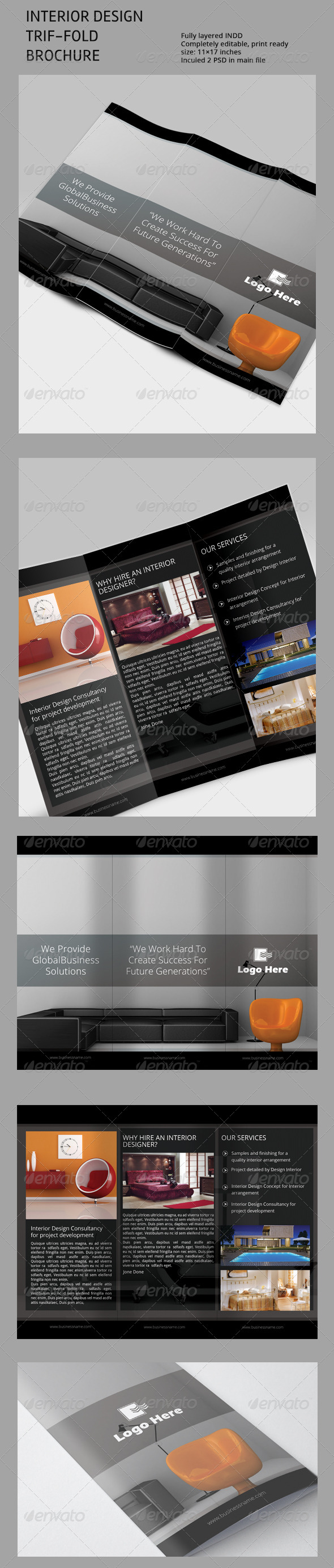 Interior Design Tri-Fold Brchoure Template - Corporate Brochures