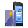 Online Shopping  concept e-commerce technology with modern Smartphone and credit card isolated  - PhotoDune Item for Sale