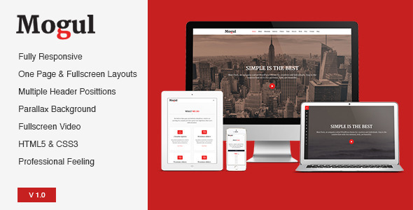 ThemeForest Mogul Responsive One Page & Fullscreen Temlpate 6896314
