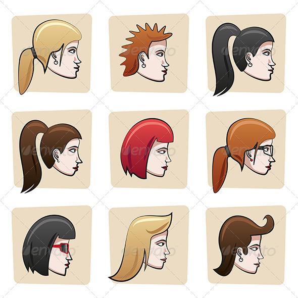 GraphicRiver Cartoon Women Heads 6906182