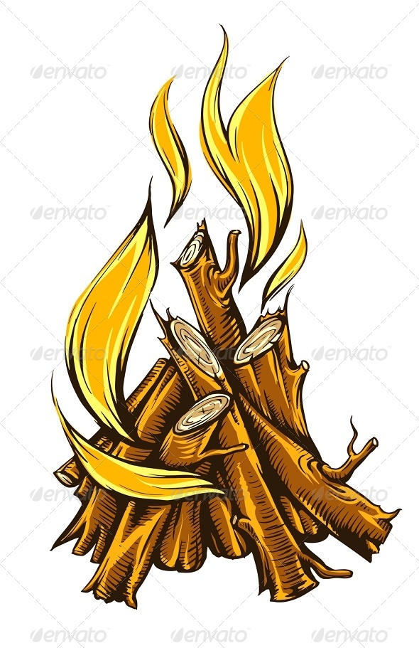 GraphicRiver Flame Fire of Campfire with Firewood 6906193