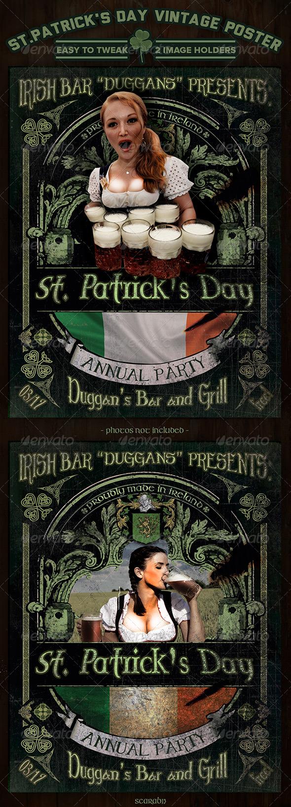 GraphicRiver Saint Patrick s Day Vintage Poster Design 6906377