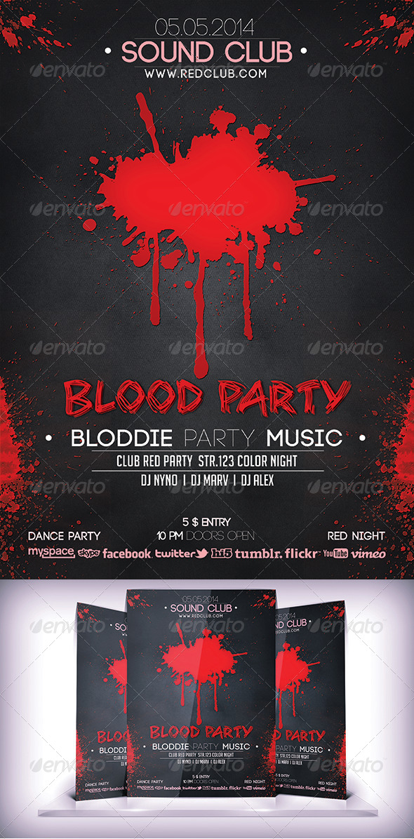 GraphicRiver Bloddie Party Flyer 6906407