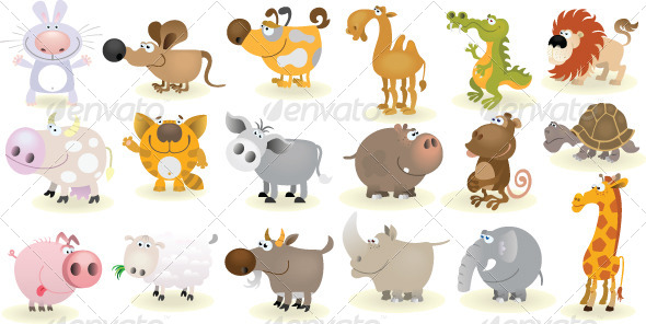GraphicRiver Cartoon Animals Set 6906614