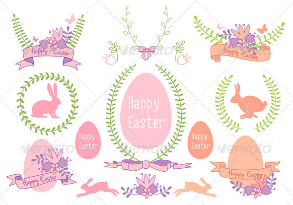GraphicRiver Happy Easter Design Elements 6906636