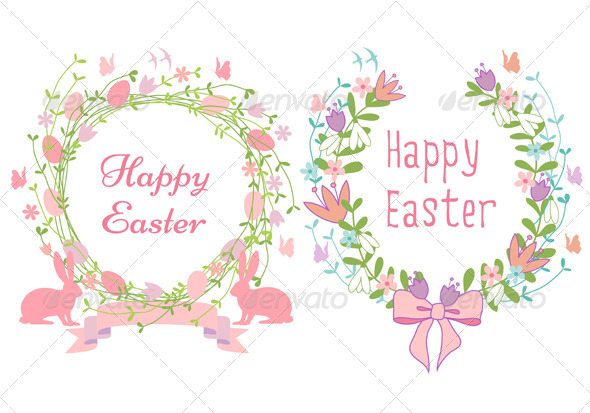GraphicRiver Happy Easter Floral Wreath Set 6906642