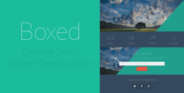 Boxed Coming Soon / Under Construction Template