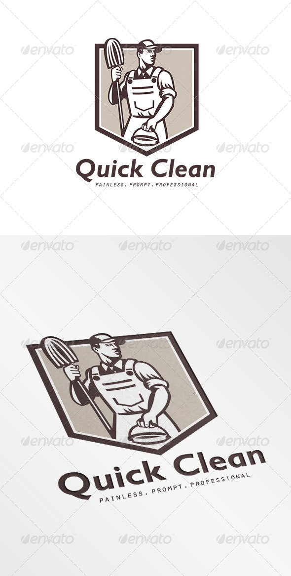 GraphicRiver Quick Clean Janitor Cleaner Logo 6906838