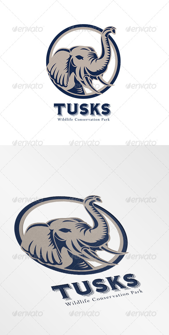 GraphicRiver Tusk Elephant Head Logo 6906934