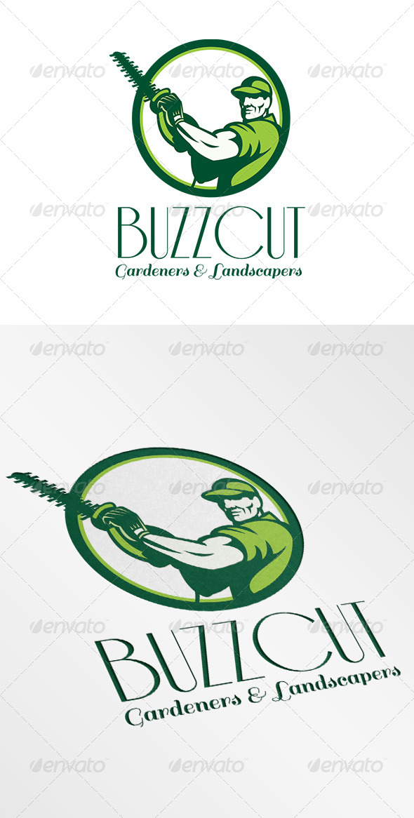 GraphicRiver Buzz Cut Gardeners and Landscapers Logo 6906957