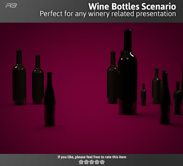 Wine Bottles Scenario - 3DOcean Item for Sale