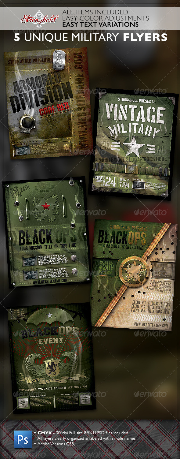GraphicRiver Vintage Military Flyer Template Bundle 6889642
