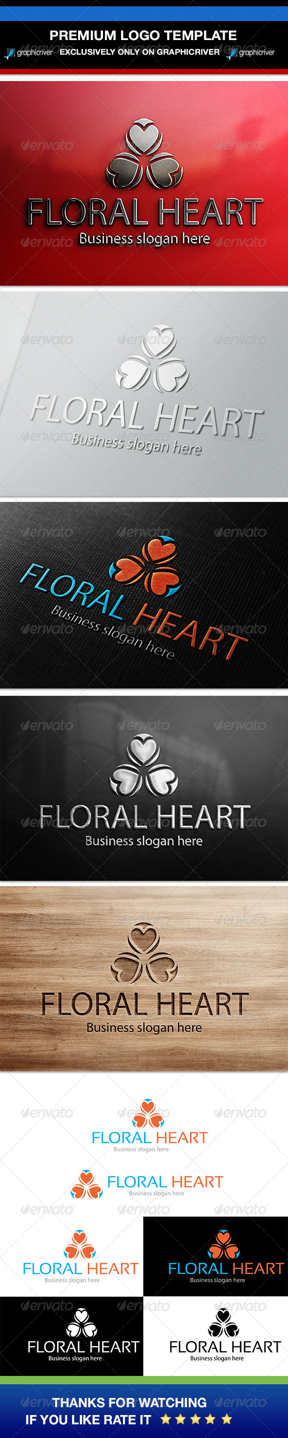 GraphicRiver Floral Heart Logo Template 6907869