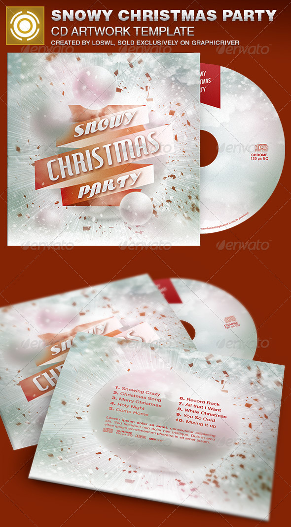 GraphicRiver Snowy Christmas Party CD Artwork Template 6908113