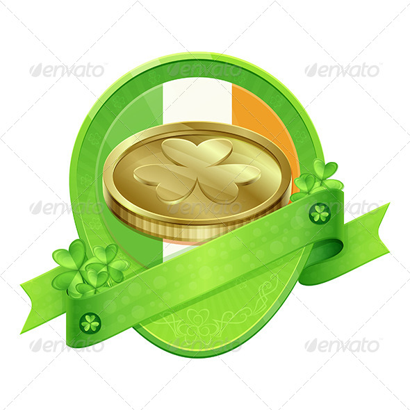 GraphicRiver Sticker Gold Coin St Patrick s Day 6908137