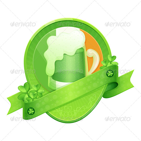 GraphicRiver Sticker Green Beer St Patrick s Day 6908147
