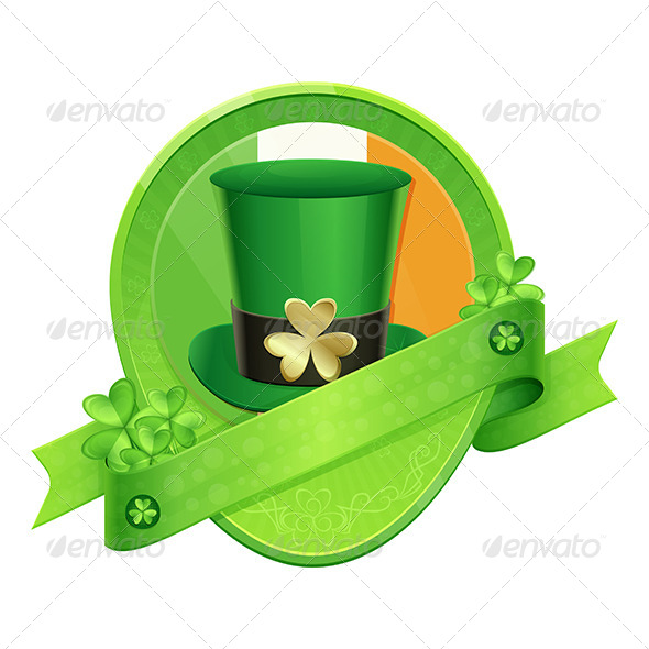 GraphicRiver Sticker Green Cylinder St Patrick s Day 6908156