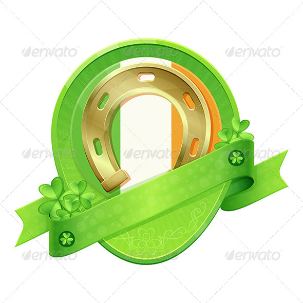 GraphicRiver Sticker Horseshoe St Patrick s Day 6908161