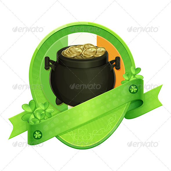 Sticker Pot of Gold Saint Patrick s Day