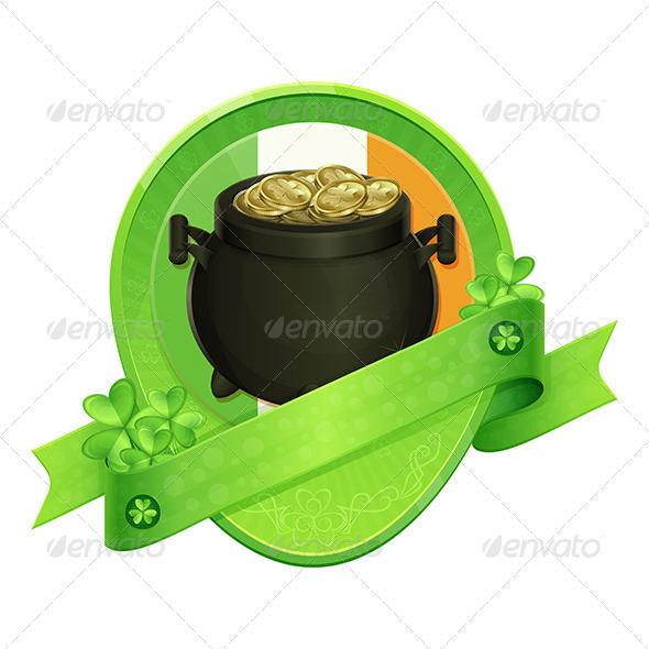 GraphicRiver Sticker Pot of Gold Saint Patrick s Day 6908171