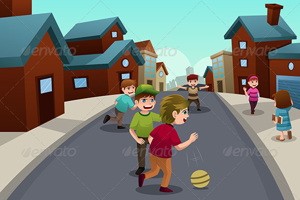 GraphicRiver Kids Playing in the Street 6908341